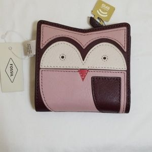 Fossil Mini Owl RFID bifold wallet Purple